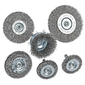 2X(6Piece Wire Wheel Cup Brush Set 0.0118In Coarse Crimped Steel 1/4In L8G7)