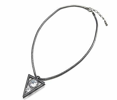 CC1915E Collier Fine Chaîne Métal Argenté avec Pendentif Triangle Inversé S...
