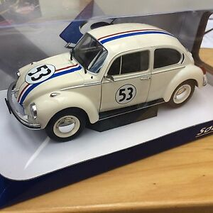SOLIDO-1800505-HERBIE-VW-Beetle-1303-diecast-model-rally-car-beige-No-53-1-18th