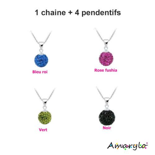 PROMO Collier 4 en 1 1 chaine 4 pendentifs Shamballa Cristal Boule Facettes