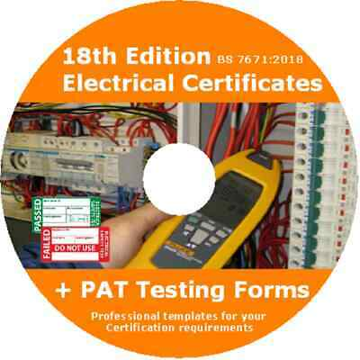 Electrical Certificates /& PAT Testing Forms BS7671 2018 18th Edition