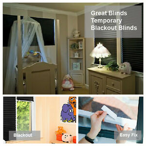 Temporary Blackout Paper Blinds - Black Pleated - Quick, Easy and Cheap to fit