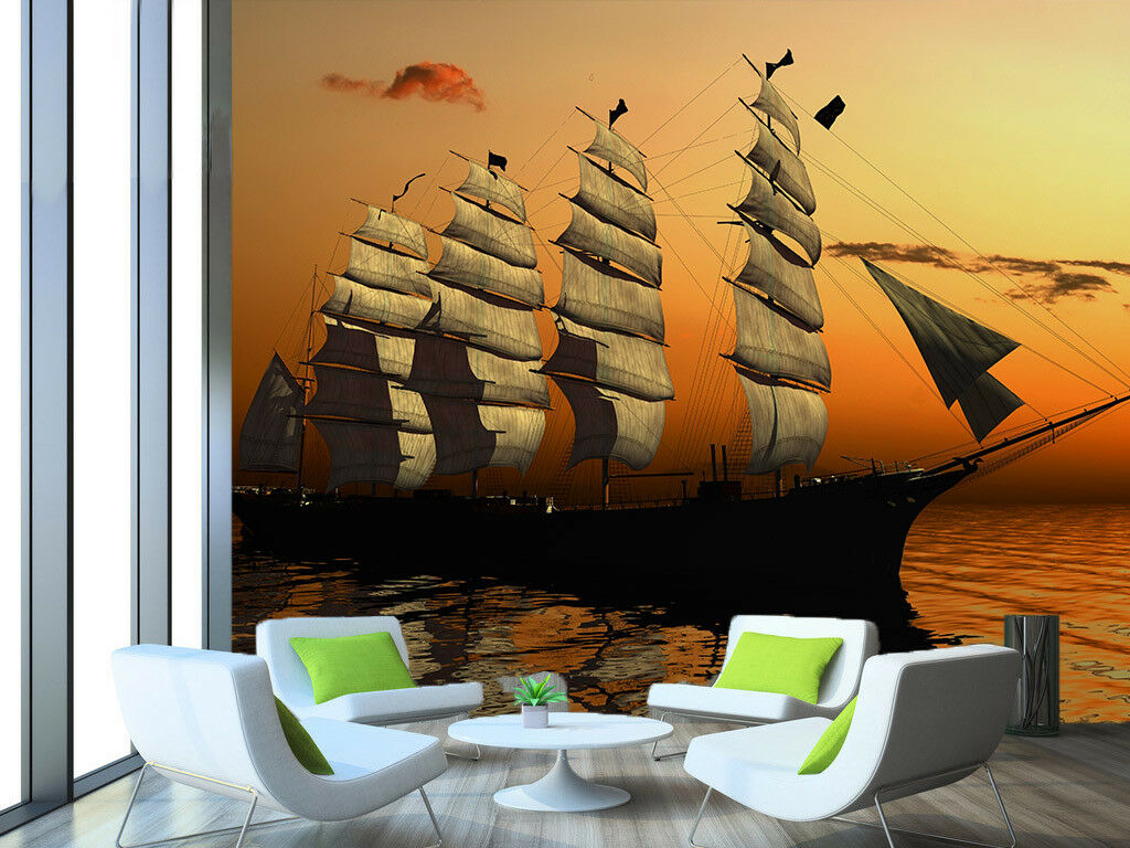 3D Sailboat Sea Dusk 44 Wall Paper Wall Print Decal Wall Deco Indoor Mural Carly