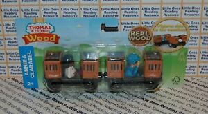 Thomas-amp-Friends-Wood-Wooden-ANNIE-amp-CLARABEL-Train-FULLY-PAINTED-GGH17