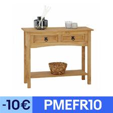 Console table meuble d'appoint style mexicain 2 tiroirs pin finition teinté/ciré