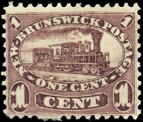 New Brunswick #6 mint VF NG 1860 Cents Issue 1c red lilac Locomotive CV$60.00