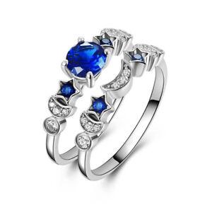 Fashion-Creative-Women-Zircon-2pcs-set-Moon-Star-Rings-Blue-Color-Jewelry