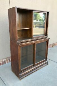 Antique-Oak-Sectional-Danner-Company-Bookcase-Two-Sectionals-High