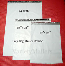 30 X Large Poly Bag Mailer Variety Pack 19x24 24x24 24x36 Shipping Envelopes