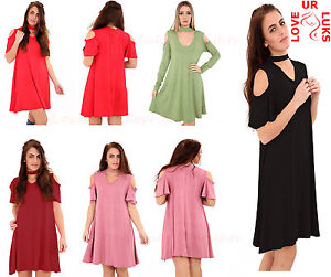 Ladies-Girls-Women-039-s-Cold-Cut-Shoulder-Frill-Sleeve-Choker-V-Neck-Swing-Dress
