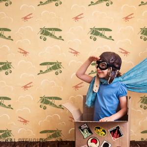 Details zu Flugzeuge Wolken Himmel Schablone Kinderzimmer Wand Stoff Möbel  Malen Dekor