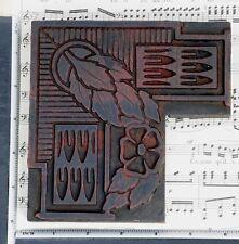 Rare Ornament Letterpress Wood Printing Block Rare Art Nouveau Print Antique