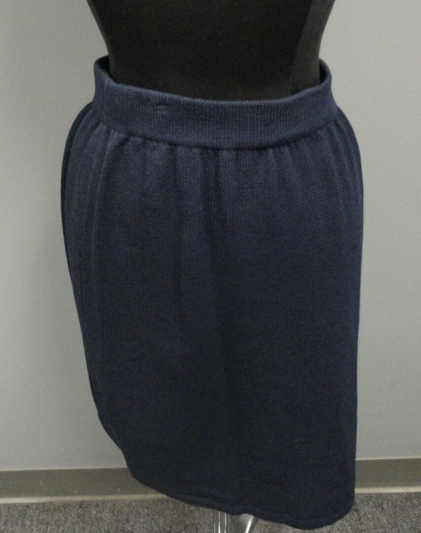 ST. JOHN COLLECTION Navy bluee Wool Blend Casual Knit Stretch Skirt Size 6 FF8404