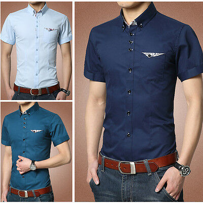 C_D83 New Men's Summer Button Stylish Short Sleeves Casual Dress Slim Fit Shirts