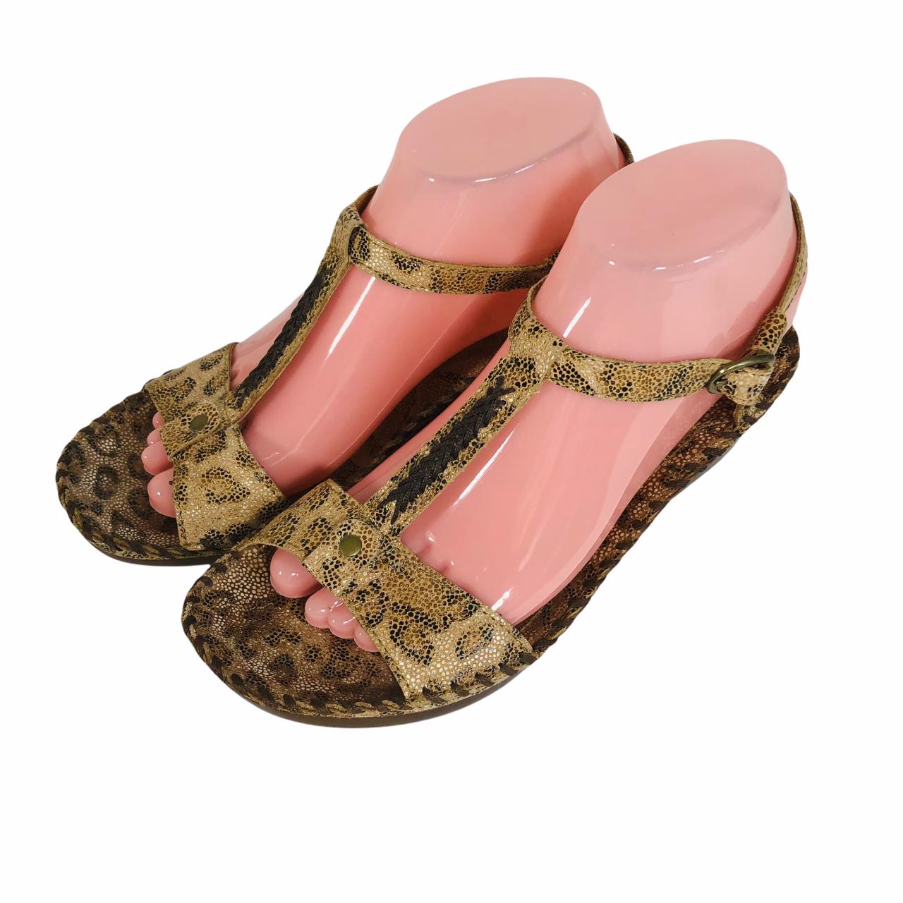 Ariat Femme Cheetah Sandales en cuir taille 7.5 B Chaussures T-bride réglable marron