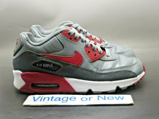 Nike Air Max '90 LTR Cool Grey Red Anthracite Running 2016 GS 833412 007 sz 4.5Y