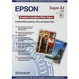 Epson Premium 251g//m2 Semi-Brillante Papel Fotográfico A4 1 Paquete de 20 Hojas Blanco