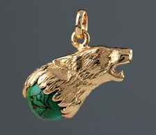 Pendentif LOUP serti d'une Pierre TURQUOISE - Pendant WOLF and Natural TURQUOISE