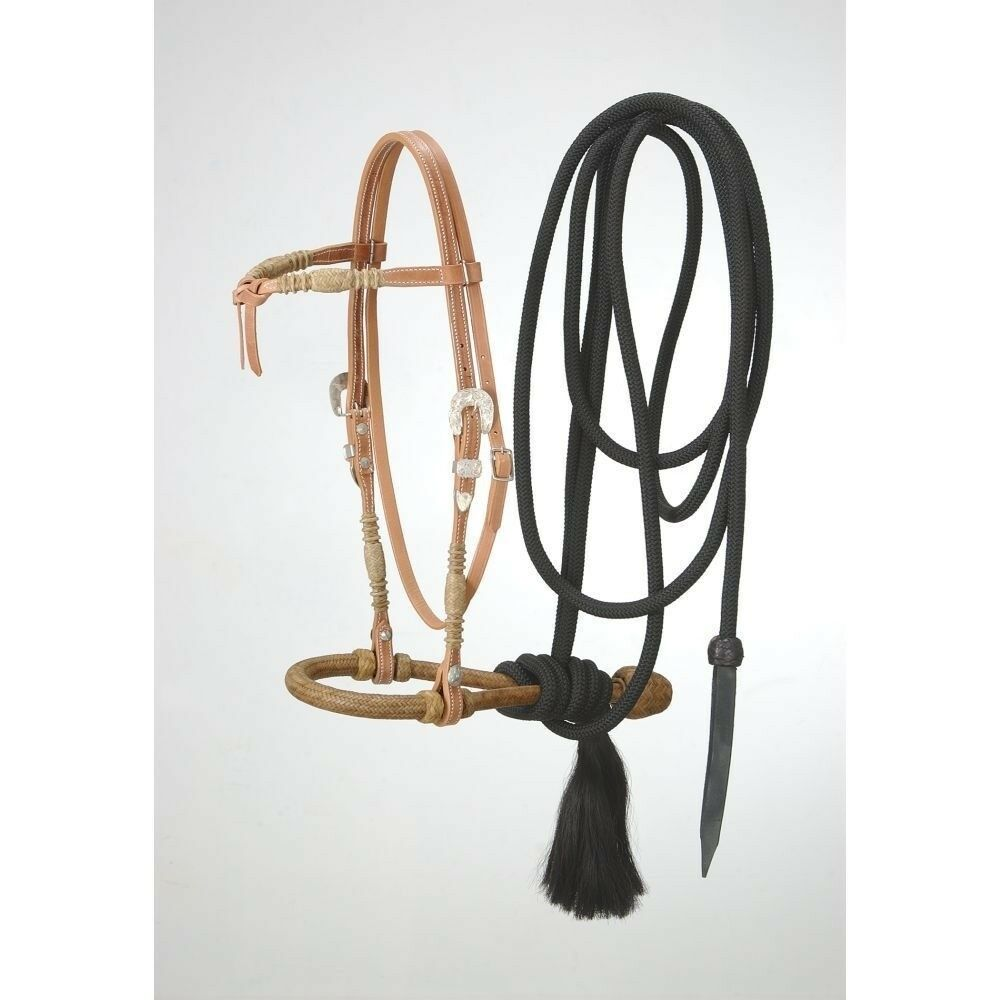 Tough - 1 Royal King prestando frontalera Cabezada BOSAL mecate conjunto cordón de cuero crudo