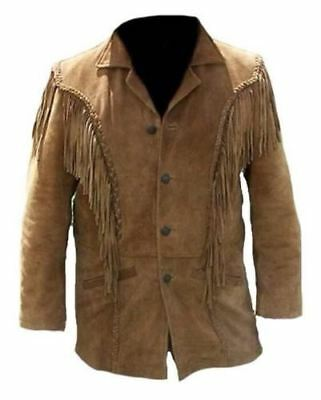 Da Uomo Western in Pelle Scamosciata indossare Cowboy Tan Frangia Perline NATIVI AMERICANI Giacca