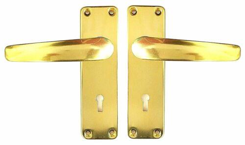 brass effect with keyhole aluminium 127 Door handles sprung lever latch gold