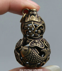 """1.7/"""" Curio Chinese Bronze Lotus Flower Hollow Out Cucurbit Gourd Small Pendant"""