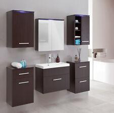 Badmöbelset Polo Badmöbel mit Waschbecken mit LED B10 Badezimmermöbel braun
