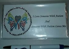 Autism Awareness Heart with Butterfly Checkbook Cover With Free Pen