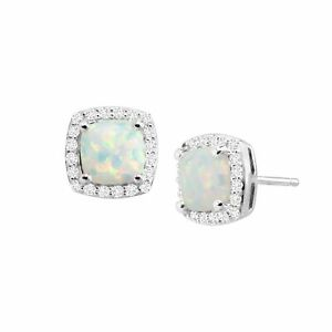 Created White Opal & Sapphire Cushion Stud Earrings in Sterling Silver