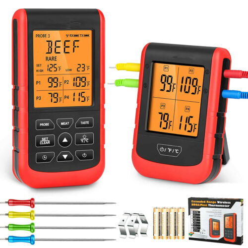 Red Remote Meat Thermometer Wireless Digital BBQ Thermometer with 4 Probes