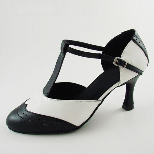 Genuine Leather T-Strap Latin Modern Dance Shoes Women/'s 3/'/' Heel Ballroom Shoes