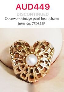 PANDORA-GENUINE-14k-Gold-Open-Vintage-Pearl-Heart-Charm-750822P