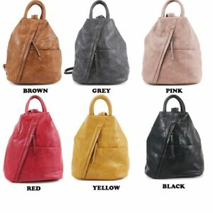 New-Ladies-Women-Faux-Leather-Soft-Travel-Backpack-Girls-College-School-Rucksack