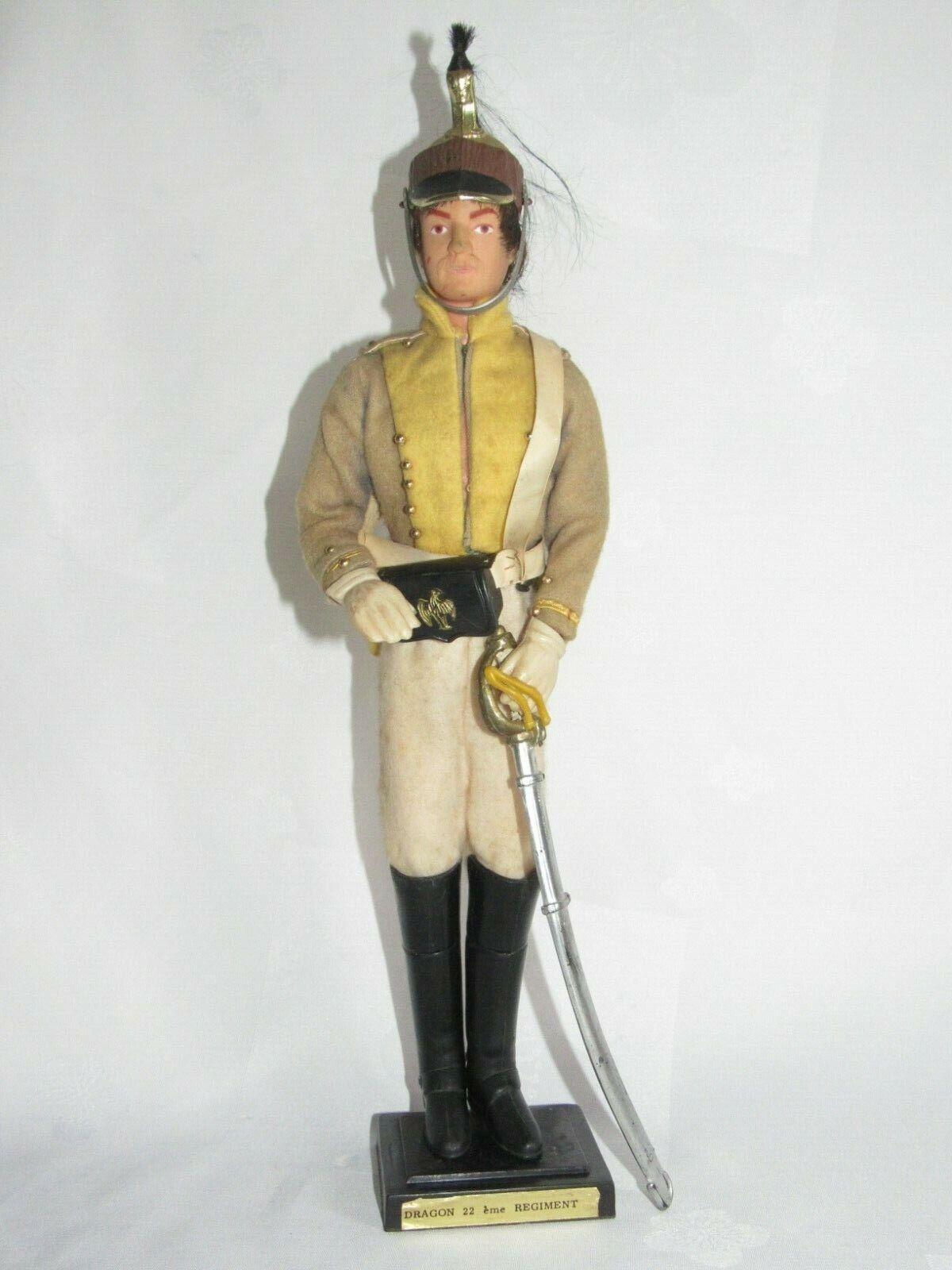 04f60 Antik Puppe Soldat Empire C.D.C Mollard Paris 22 E Regiment Dragons