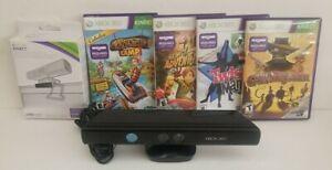 Microsoft Xbox 360 Kinect Sensor Bar Model 1414 w/ 4 Games/ NIB Tv Mount