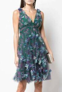 $795 NEW Marchesa Notte 3 D Flower V Neck Empire Waist Green Cocktail Dress 6 16