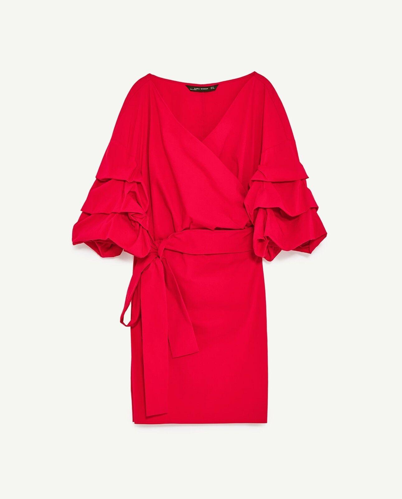 ZARA MINI DRESS WITH RUFFLED SLEEVES and sash belt-red-POPLIN-ref 4437 249-S, L