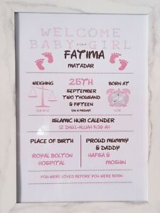 Personalised Baby Gift Nursery Print Birth details Christening A4 PINK PO7
