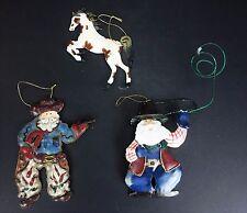 3 Western Ornaments Cowboy Santa Horse Metal Holiday Christmas Tree Ornament