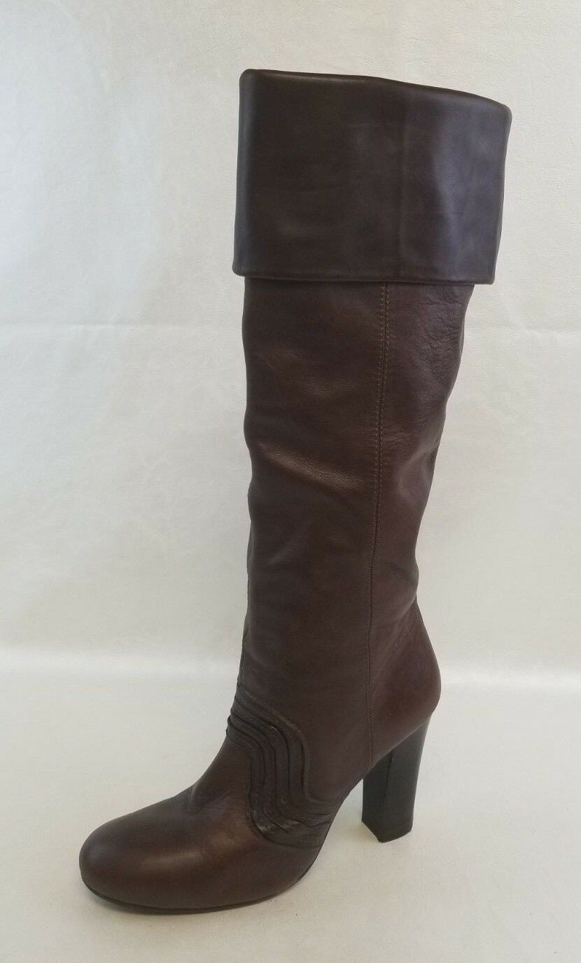 Miss Sixty Knee High Boots Womens Heels Fold Top Lined Brown Leather Pull On 9.5