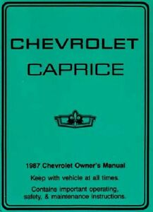 1987 chevrolet caprice owners manual user guide 602693755412 ebay rh ebay com 1987 Chevy Caprice 4 Sale 1987 Chevrolet Caprice 2000 Film