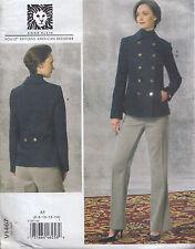 Vogue Designer D/B Peacoat & Pants Trouser Suit Size (6-14) Sewing Pattern