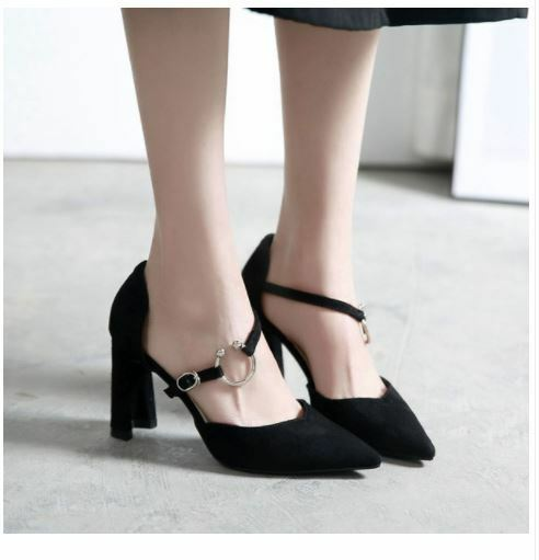 Decolte scarpe 9 donna nero tacco quadrato 9 scarpe cm simil pelle eleganti 9683 1268be