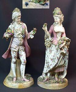 2019 Nouveau Style C 18èm Porcelaine Saxe Couple Galants Statuettes 46cm7,9kg Meissen Volkstedt