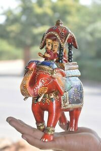 Wooden-Handpainted-Colorful-Elephant-With-Palanquin-Handcrafted-Figurine