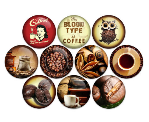 """Coffee Cafe Latte 1/"""" Pin Back Buttons Badges Pins Pack of 10"""
