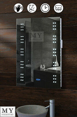 LED ILLUMINATED BATHROOM MIRROR / DEMISTER / SHAVER / SENSOR / CLOCK - MATRIX