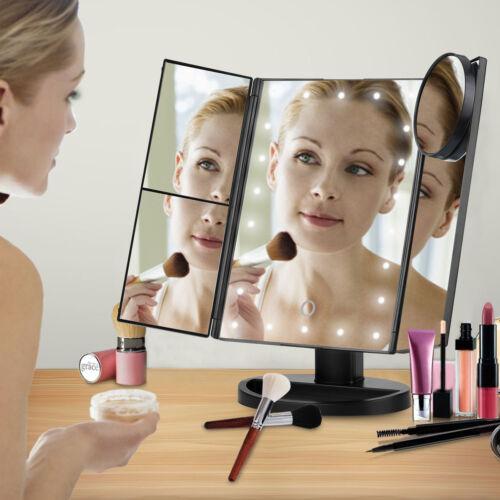 Triple 21 Espejo de maquillaje LED encimera vanidad Touch aumento de 2x/3x Negro