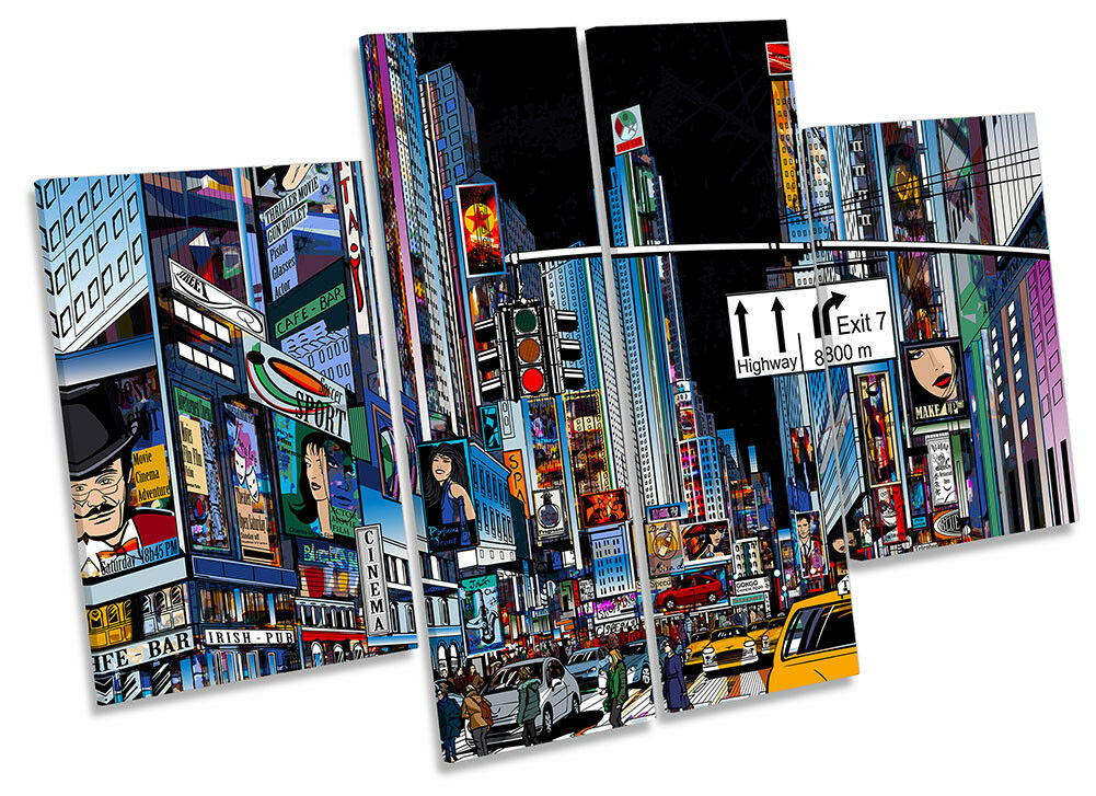 Times Square New York Stadt Bild CANVAS Wand Kunst Four Panel