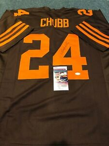 15def7535d1 Image is loading CLEVELAND-BROWNS-NICK-CHUBB-AUTOGRAPHED-SIGNED-JERSEY-JSA-